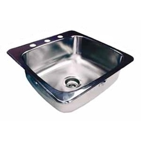 "Topmount single bowl sink with faucet ledge, stainless steel Reginox, 1 Bowl, 3 holes, 20 1/2"" x 20"""